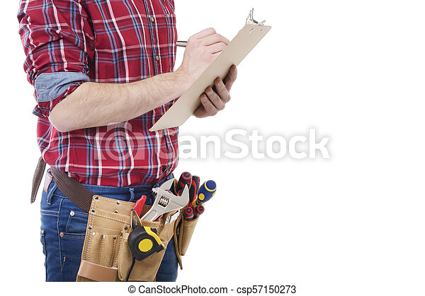 construction worker or architect writing in the documents - csp57150273