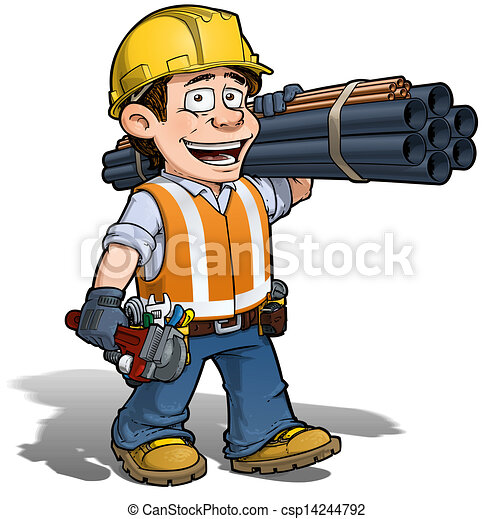 cartoon illustration of a construction worker plumber stock rh canstockphoto com construction worker clipart images female construction worker clipart
