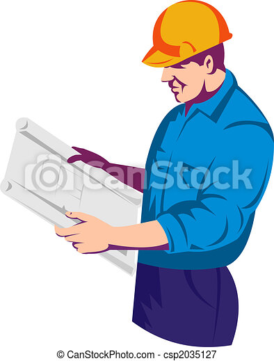 Construction Worker Reading Plan Stock Illustration