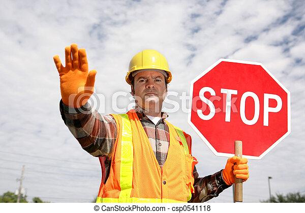 Construction Worker Stop - csp0541118