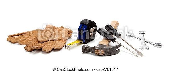 Construction worker supplies on white - csp2761517