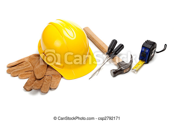 Construction worker supplies on white - csp2792171