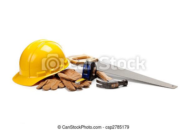 Construction worker supplies on white - csp2785179