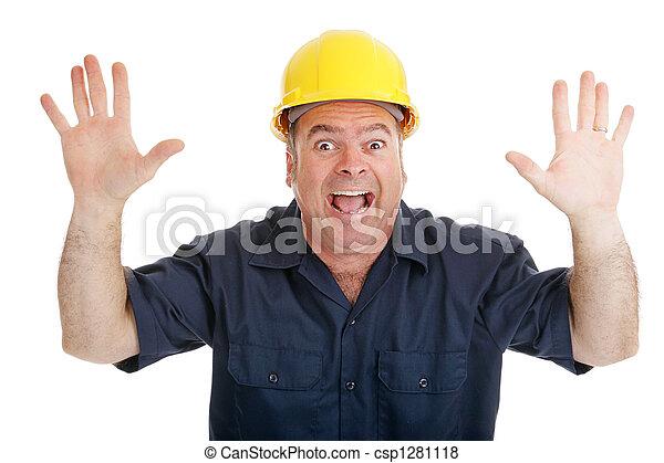 Construction Worker Terrified - csp1281118