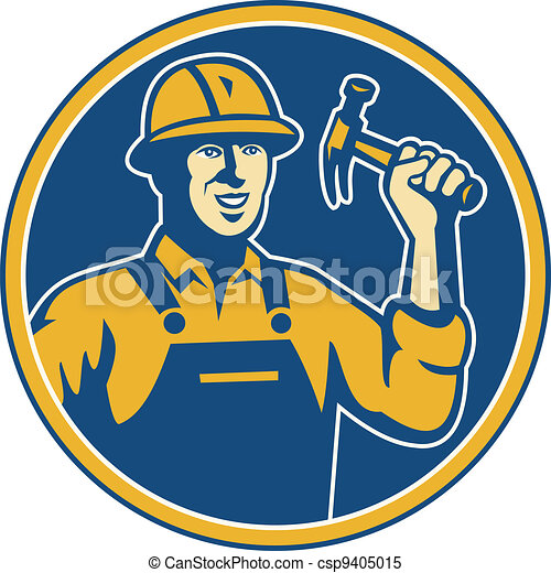 construction worker tradesman laborer hammer  - csp9405015