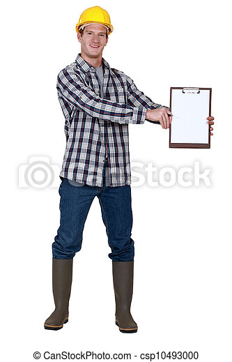 Construction worker with a blank clipboard - csp10493000