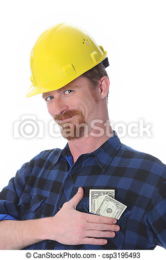 construction worker with earnings - csp3195493