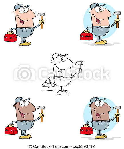 Construction Worker With Hammer  - csp9393712
