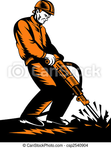 Construction Worker With Jackhammer Stock Illustration