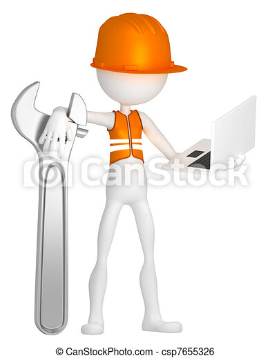 Construction worker with laptop - csp7655326