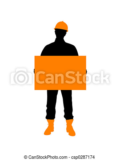 Construction Worker With Poster - csp0287174