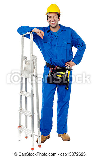 Construction worker with step ladder - csp15372625