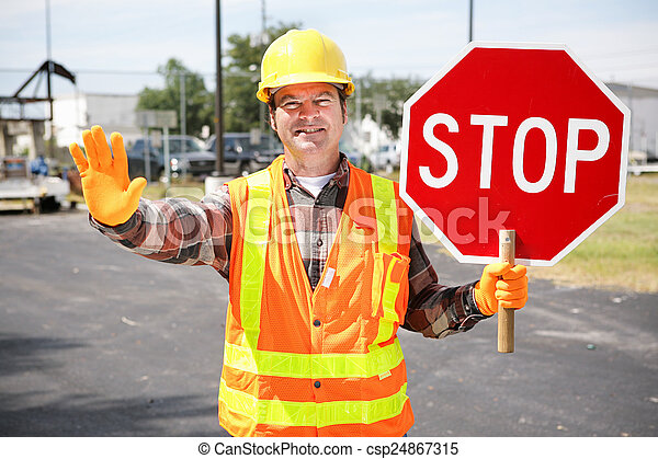 Construction Worker with Stop Sign - csp24867315