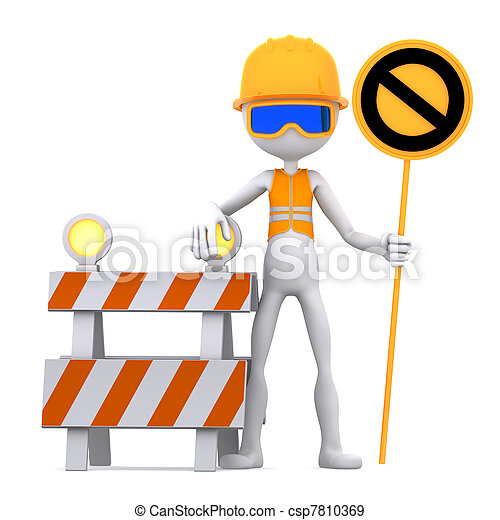 Construction worker with STOP sign - csp7810369