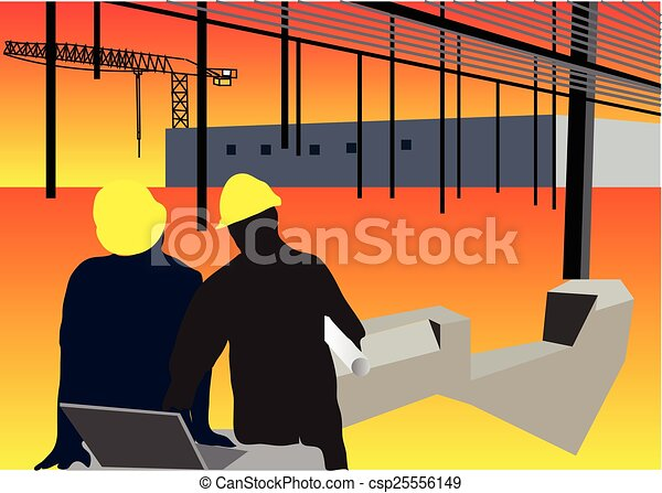 Construction workers background - csp25556149