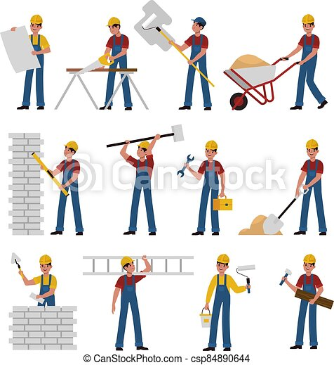 Construction workers. Cartoon builders in helmet work with constructions tools saw, hammer and trowel, shovel and ladder, building and renovation house flat vector characters collection - csp84890644