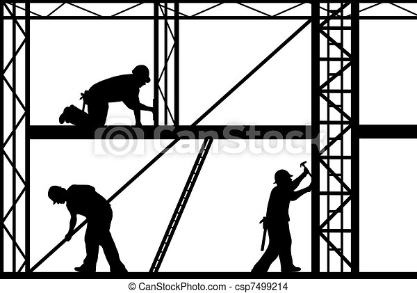Construction Workers Isolated On White Drawing
