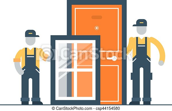 construction workers with window frame and door vector - Window Clip Frame