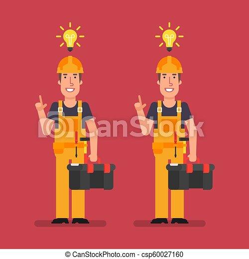 El constructor tuvo una idea sosteniendo la maleta y sonriendo - csp60027160