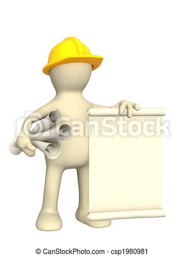 3d constructor con rollos de documentos - csp1980981
