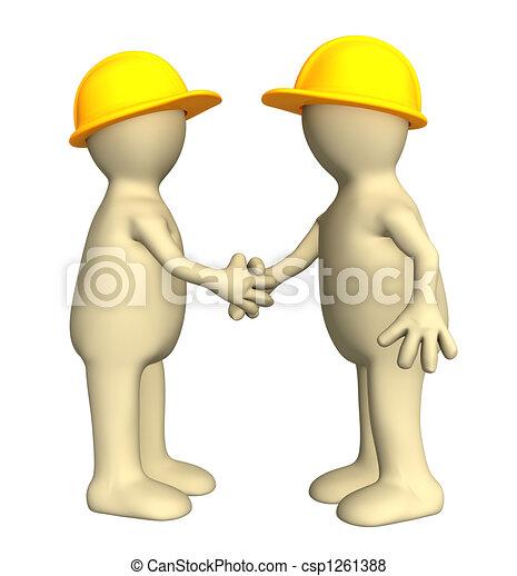 Un apretón de manos de dos marionetas, constructores - csp1261388