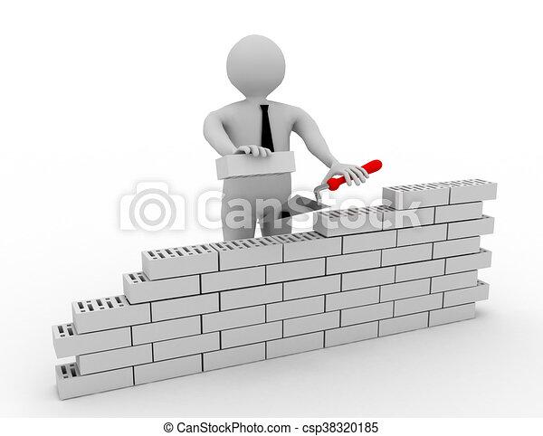 construire mur brique 3d rouges homme illustration de stock recherchez des clip art des. Black Bedroom Furniture Sets. Home Design Ideas