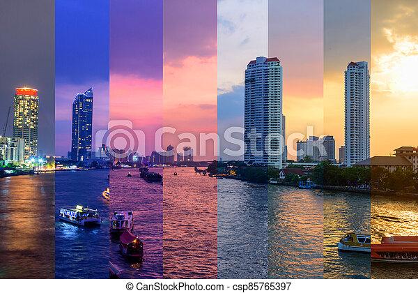 construisant couleur, différent, élevé, rivière, temps, nuit, ombre - csp85765397