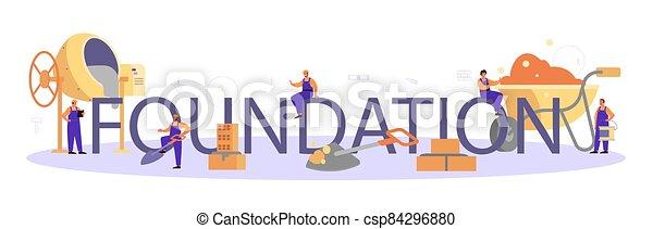 construtor, header., tipográfico, preparar, profissional, trabalhador, fundação - csp84296880