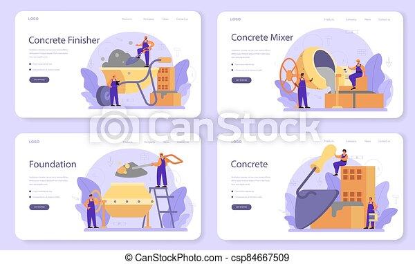 construtor, set., finisher, página, aterragem, ou, bandeira, profissional, concreto, teia - csp84667509