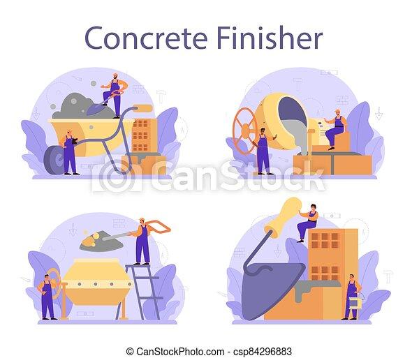 construtor, set., finisher, preparar, profissional, concreto, trabalhador - csp84296883