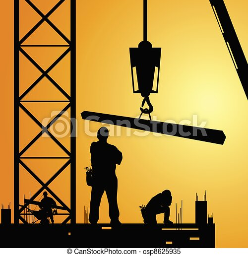 constuction worker at work with crane illustration - csp8625935