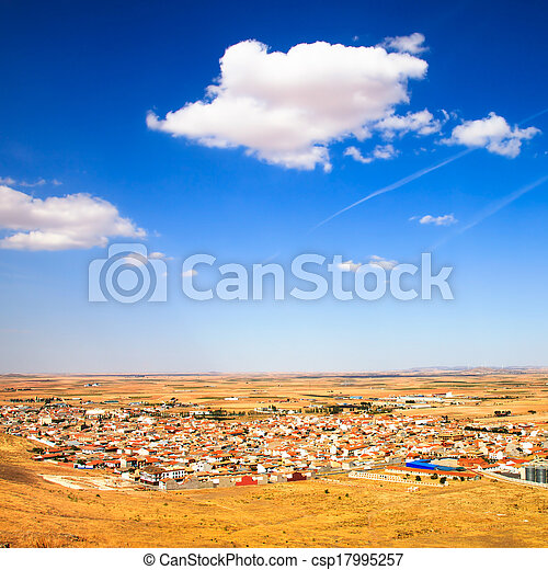 Consuegra village aerial view from windmills in summer. Castile La Mancha, Spain, Europe. - csp17995257