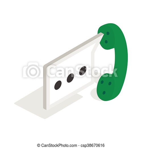 Consultation by phone icon, isometric 3d style - csp38670616