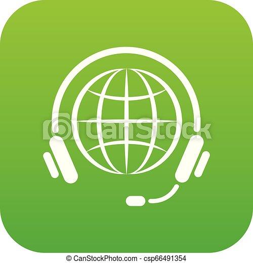 Consultation worldwide icon green vector - csp66491354