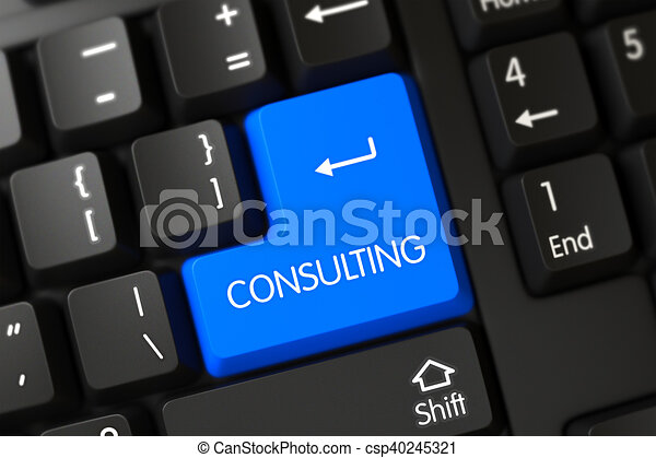 Consulting Close Up of Blue Keyboard Keypad. 3D. - csp40245321