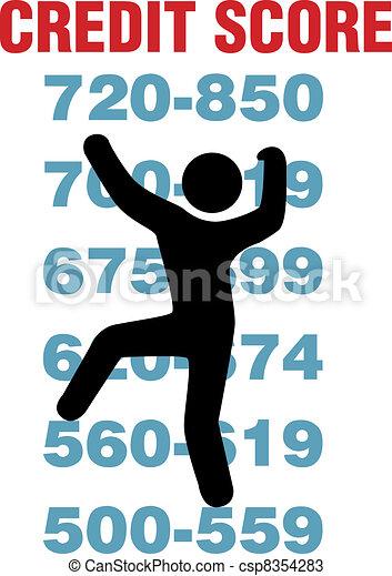 Consumer climbs up better credit card score - csp8354283