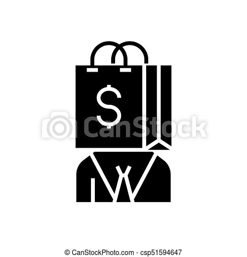 consumerism icon, vector illustration, black sign on isolated background - csp51594647