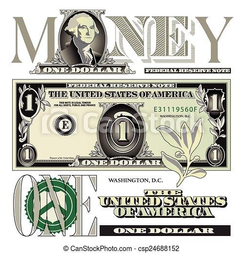 conta, dólar, elementos, um - csp24688152