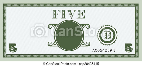 conta, dinheiro, image., cinco - csp20438415