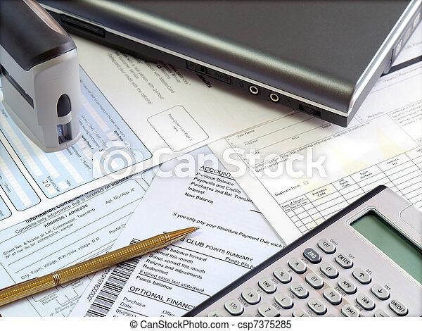 contabilidad, mesa. - csp7375285