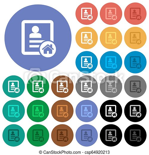 Contact address round flat multi colored icons - csp64920213