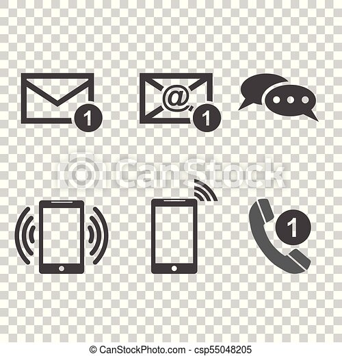 Contact buttons set icons  Email, envelope, phone, mobile  Vector  illustration in flat style on isolated background