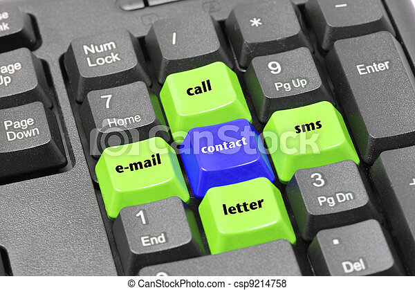 Contact, email, letter, call, sms word on green, blue and black keyboard button - csp9214758