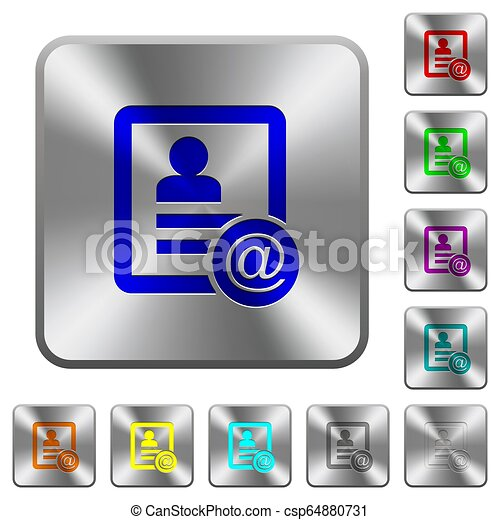 Contact email rounded square steel buttons - csp64880731