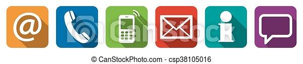 contact, ensemble, six, nous, icônes - csp38105016
