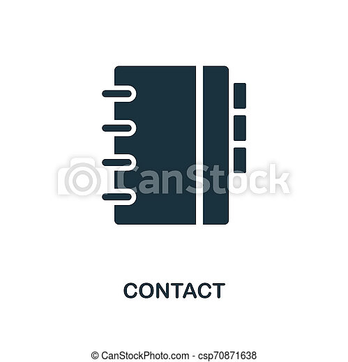 Contact icon. Monochrome style design from business icon collection. UI. Pixel perfect simple pictogram contact icon. Web design, apps, software, print usage. - csp70871638