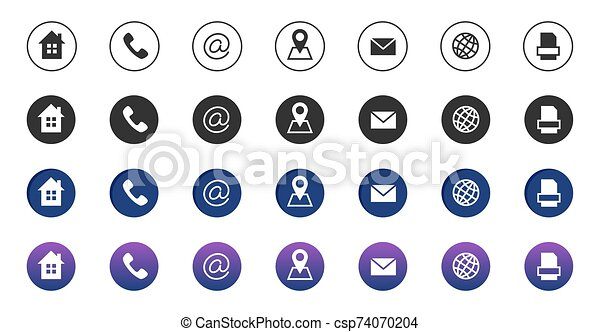 contact icons information business communication symbols collection call internet location address mail and fax icons https www canstockphoto com contact icons information business 74070204 html