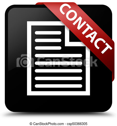 Contact (page icon) black square button red ribbon in corner - csp50366305
