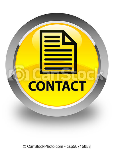 Contact (page icon) glossy yellow round button - csp50715853