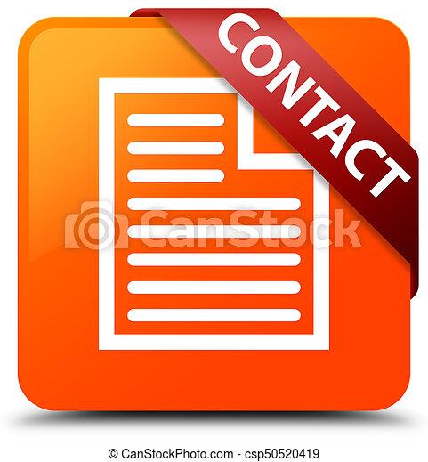 Contact (page icon) orange square button red ribbon in corner - csp50520419